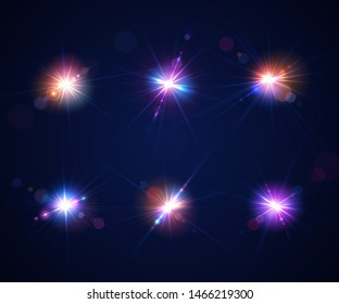 Glowing lens flares. Set of beautiful glare effects with bokeh, glitter particles and rays. Sparkling light effects of flash with colorful twinkle. Shining abstract background. Vector illustration