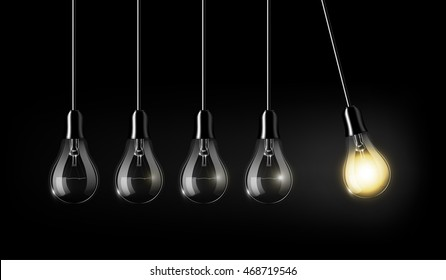 Glowing light bulb is among a lot of turned off light bulbs on dark black background , concept idea, perpetual Motion concept, an analogy with Newton's cradle, transparent vector