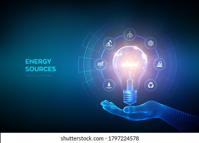 Glowing light bulb with energy resources icons in hand. Electricity and energy saving concept. Energy sources. Campaigning for ecological friendly and sustainable environment. Vector illustration.