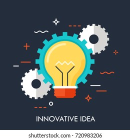 Glowing light bulb and gear wheels on dark background. Concept of innovative idea, creativity, modern technology and technological novelty. Creative vector illustration for banner, poster, website.