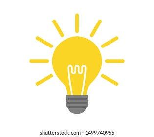 Glowing light bulb icon. vector illustration.