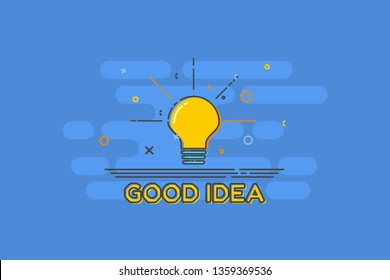 glowing light bulb represent idea on blue background with Good Idea text in yellow color. Trendy flat vector light bulb icons with concept of good idea on blue background