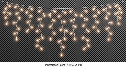 Glowing light bulbs Christmas and New Year. Realistic retro garland isolated on transparent background. Xmas decorations for festive design of postcard, banner, poster, website. Vector design