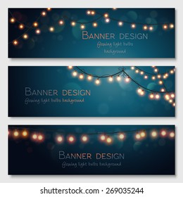 Glowing light bulbs design. Vector banners set. Website header template.