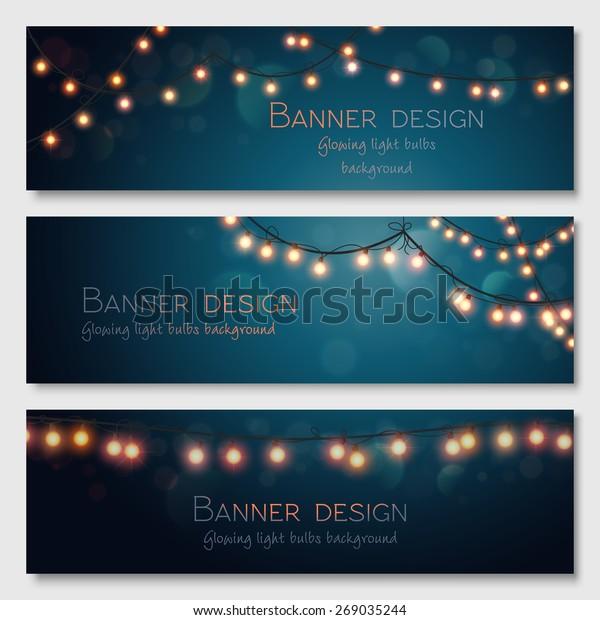 Glowing light bulbs design. Vector banners set. Website header template.