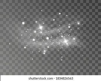 Glowing light effect with many glitter particles isolated on transparent background. Vector starry cloud with dust