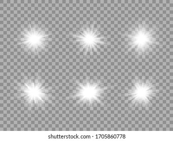 Glowing light effect on transparent background. White star explosion set. Sun flash with rays and spotlight. Bright star. Shiny flare. Glare design element. Vector illustration.