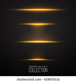 Glowing light effects collection isolated on transparent. Optical flare objects .  Vector collection of abstract flashes .