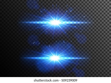 Glowing light effects collection isolated on transparent background. Vector blue lens flares
