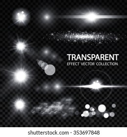 Glowing Light Effects. Realistic Lens Flare Collection. Transparent Design. Vector illustration