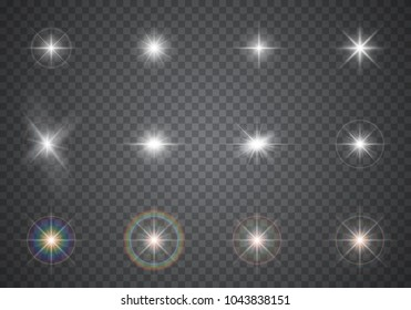 Glowing light effects. Sparkling and shining stars, flashes of lights, abstract flares, bright glares. Transparent vector illustration