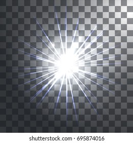 Glowing light effects with transparency isolated on plaid vector background. Lens flares, rays, stars and sparkles. Vector illustration