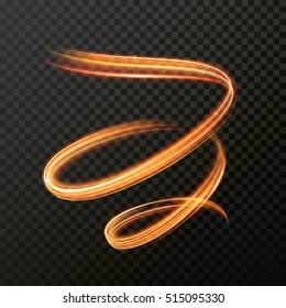Glowing light fire line swirl spiral. Vector abstract light speed motion effect. Light trace effect. Glow luminous glitter shimmer trail. Light painting