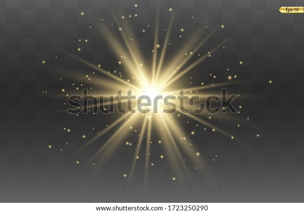 Glowing Light Star with Sparkles. Golden Light effect. Vector illustration
