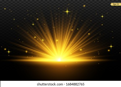 Glowing Light Stars with Sparkles. Golden Light effect. Vector illustration