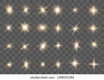 Glowing lights effect, flare, explosion and stars. Sparkling magical dust particles. Special effect isolated on transparent background