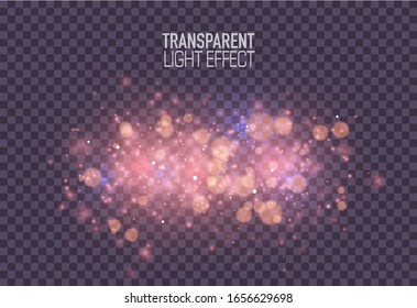 Glowing lights effects isolated on transparent background. Festive purple luminous background. Abstract magic Illustration