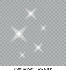 Glowing lights effects isolated on transparent background Sun flash with rays and spotlight Star burst with sparkles