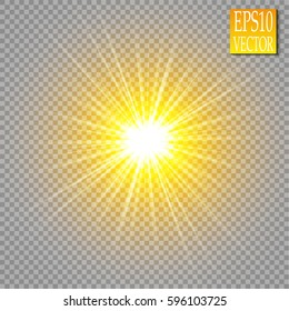 Glowing lights effects isolated on transparent background. Sun flash with rays and spotlight. Glow light effect. Star burst with sparkles.