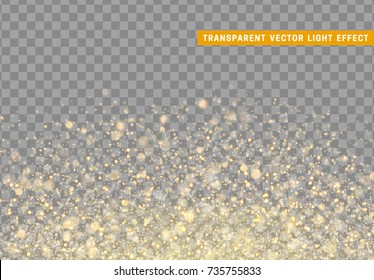 Glowing lights golden glitter. Sparkle particles texture. Christmas gold dust. Luxury sparkling vector background