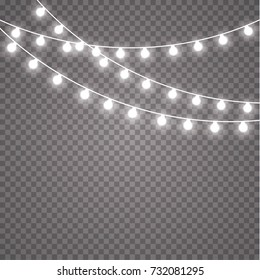 Glowing lights for holidays. Transparent glowing garland. White glowing lights for greeting card design. Garlands, Christmas decorations