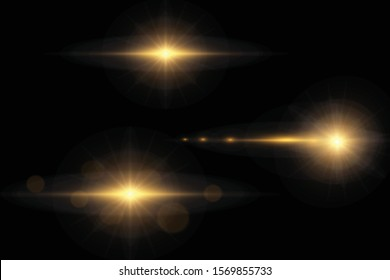 Glowing lights and stars. Isolated on transparent background. Set of light explodes. Sparkling magical dust particles. Bright star, sparkles Transparent shining sun, flash Vector Light effect