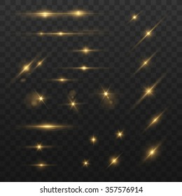 Glowing lights and stars. Isolated on black transparent background. Vector illustration, eps 10.