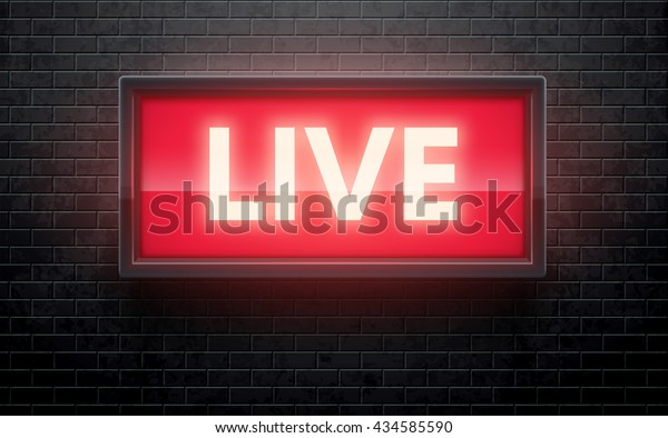 glowing live red sign isolated on black brick wall