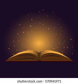 Glowing and magic book. Vector.