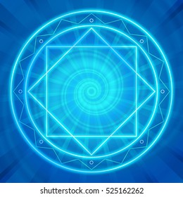Glowing magic circle. Sacred geometry, vector illustration. Neon lines. Abstract geometric background. Strange magic mandala.