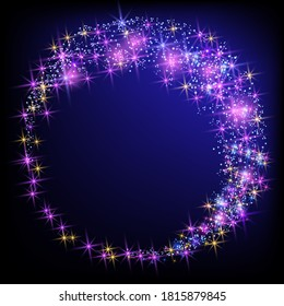 Glowing magic round frame. Fantasy salute and shining firework with sparkle dust stars.