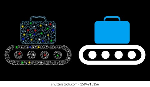 Glowing mesh baggage conveyor icon with sparkle effect. Abstract illuminated model of baggage conveyor. Shiny wire frame triangular network baggage conveyor icon.
