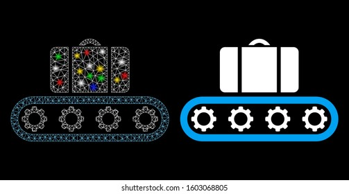 Glowing mesh baggage conveyor icon with glow effect. Abstract illuminated model of baggage conveyor. Shiny wire carcass polygonal mesh baggage conveyor icon. Vector abstraction on a black background.