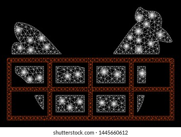Glowing mesh chicken cage with sparkle effect. Abstract illuminated model of chicken cage icon. Shiny wire frame polygonal mesh chicken cage. Vector abstraction on a black background.