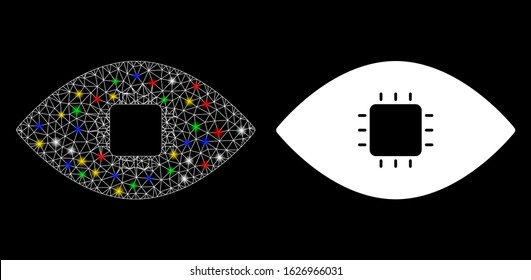 Glowing mesh chip eye retina icon with glare effect. Abstract illuminated model of chip eye retina. Shiny wire frame polygonal mesh chip eye retina icon. Vector abstraction on a black background.