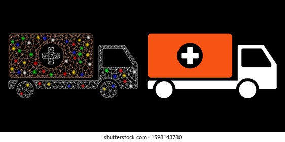 Glowing mesh drugs shipment icon with lightspot effect. Abstract illuminated model of drugs shipment. Shiny wire frame polygonal network drugs shipment icon. Vector abstraction on a black background.