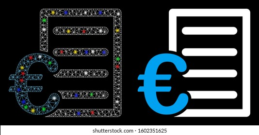Glowing mesh Euro pricelist icon with lightspot effect. Abstract illuminated model of Euro pricelist. Shiny wire carcass polygonal mesh Euro pricelist icon. Vector abstraction on a black background.