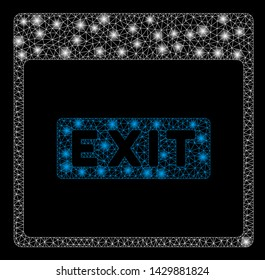 Glowing mesh exit caption calendar page with sparkle effect. Abstract illuminated model of exit caption calendar page icon. Shiny wire frame triangular mesh exit caption calendar page.