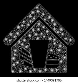 Glowing mesh fastfood cafe with sparkle effect. Abstract illuminated model of fastfood cafe icon. Shiny wire frame triangular network fastfood cafe. Vector abstraction on a black background.