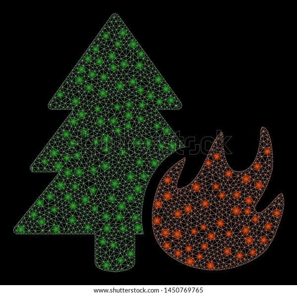 Glowing Mesh Forest Fire Glitter Effect Stock Vector