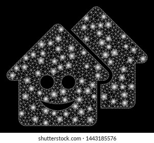 Glowing mesh happy realty with lightspot effect. Abstract illuminated model of happy realty icon. Shiny wire carcass polygonal mesh happy realty. Vector abstraction on a black background.