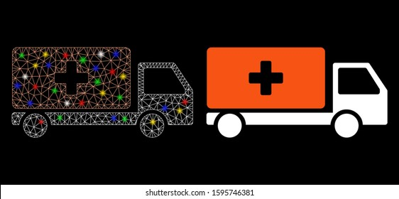 Glowing mesh medical shipment icon with lightspot effect. Abstract illuminated model of medical shipment. Shiny wire frame triangular mesh medical shipment icon.