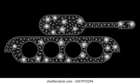 Glowing mesh military tank with glow effect. Abstract illuminated model of military tank icon. Shiny wire frame triangular mesh military tank. Vector abstraction on a black background.