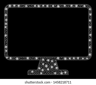 Glowing mesh monitor with sparkle effect. Abstract illuminated model of monitor icon. Shiny wire carcass triangular mesh monitor. Vector abstraction on a black background.