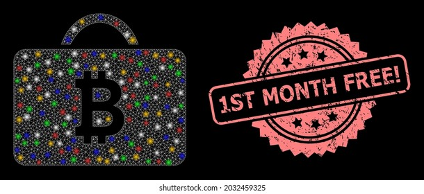 Glowing mesh net bitcoin case with glowing spots, and 1St Month Free Attention unclean rosette seal print. Illuminated vector constellation created from bitcoin case icon.