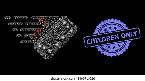 Glowing mesh network ticket with glowing spots, and Children Only unclean rosette stamp. Illuminated vector model created from ticket icon. Blue stamp seal has Children Only text inside rosette. - Shutterstock ID 1868913526