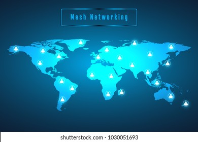 Glowing mesh networking connection. World map line as global business and composition concept. Vector Illustration.