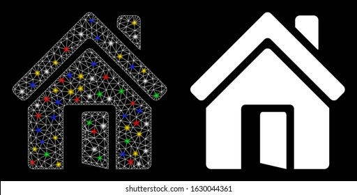 Glowing mesh open house door icon with glow effect. Abstract illuminated model of open house door. Shiny wire carcass polygonal network open house door icon. Vector abstraction on a black background.