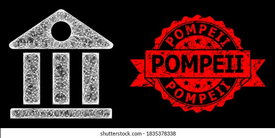 Glowing mesh polygonal museum with light spots, and Pompeii textured ribbon seal imitation. Red seal has Pompeii text inside ribbon. Illuminated vector model created from museum icon with white mesh.