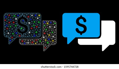 Glowing mesh price bids icon with lightspot effect. Abstract illuminated model of price bids. Shiny wire frame polygonal mesh price bids icon. Vector abstraction on a black background.